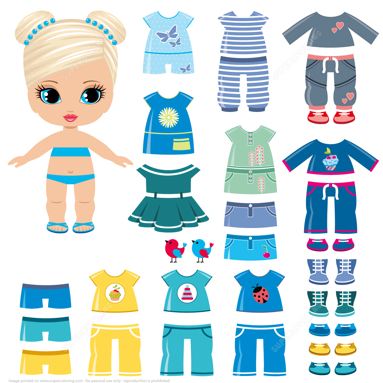 Summer Clothing And Shoes For A Little Girl Paper Doll