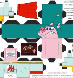he hog the atomic pig paper toy [ 1569 x 1219 Pixel ]