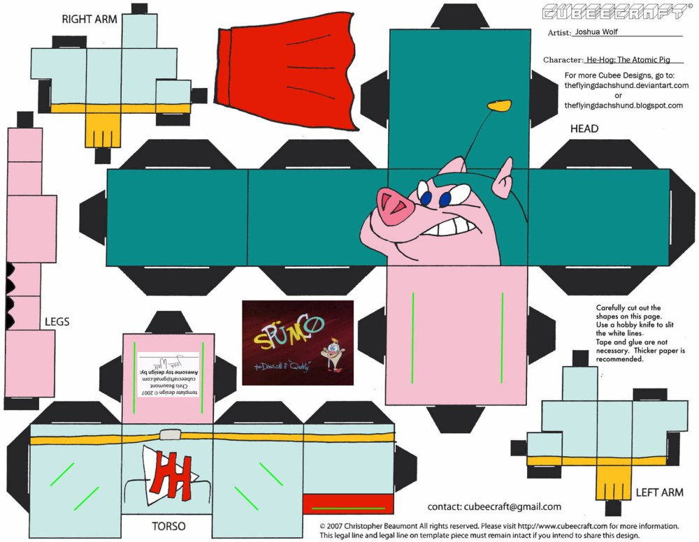 medium resolution of he hog the atomic pig paper toy
