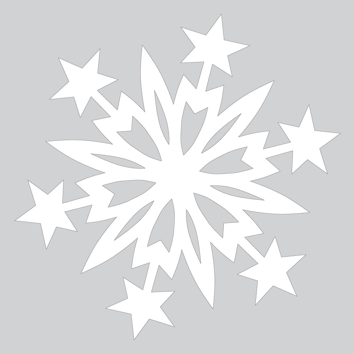 Paper Snowflake Pattern With Christmas Stars Cut Out