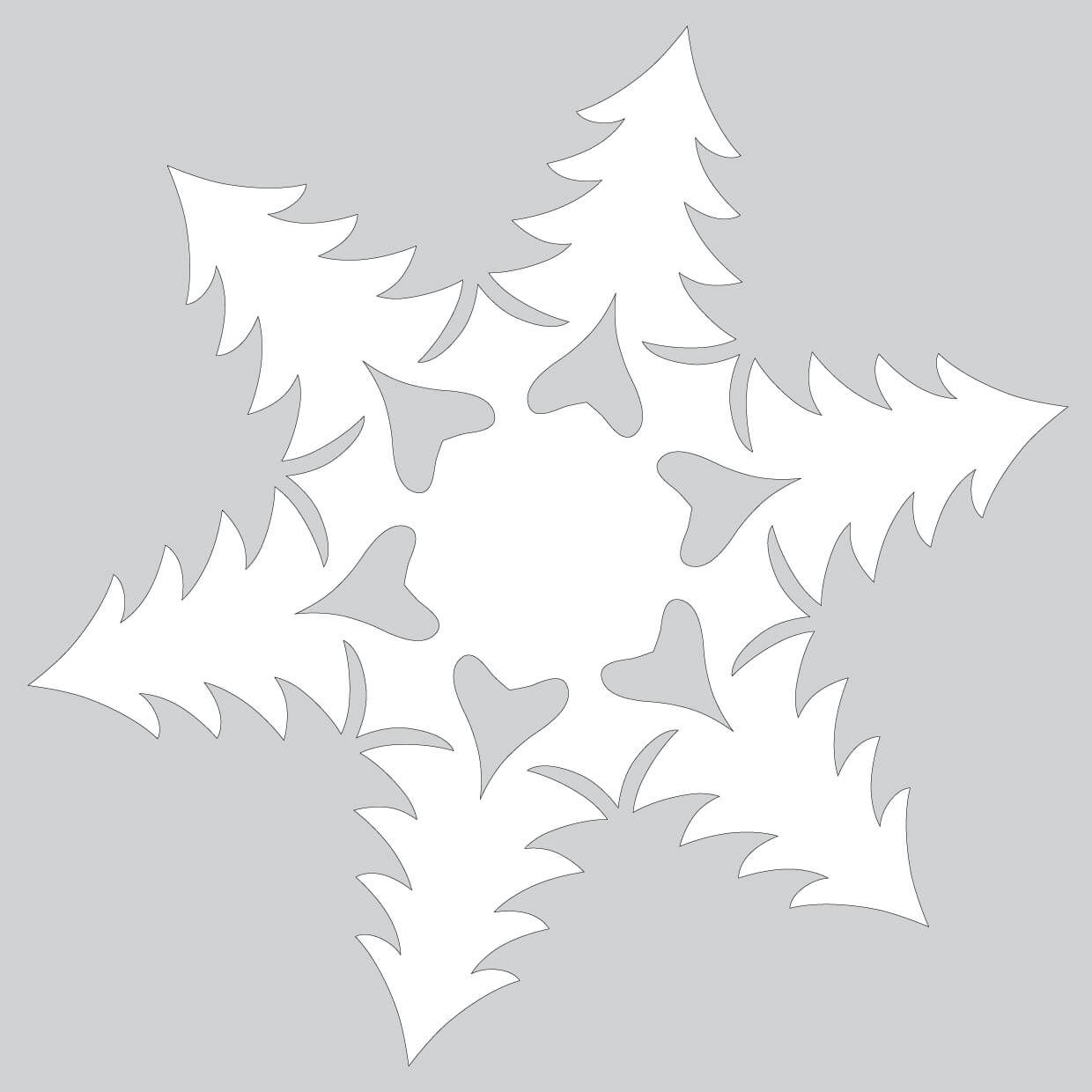 Paper Snowflake Pattern With Christmas Trees Cut Out