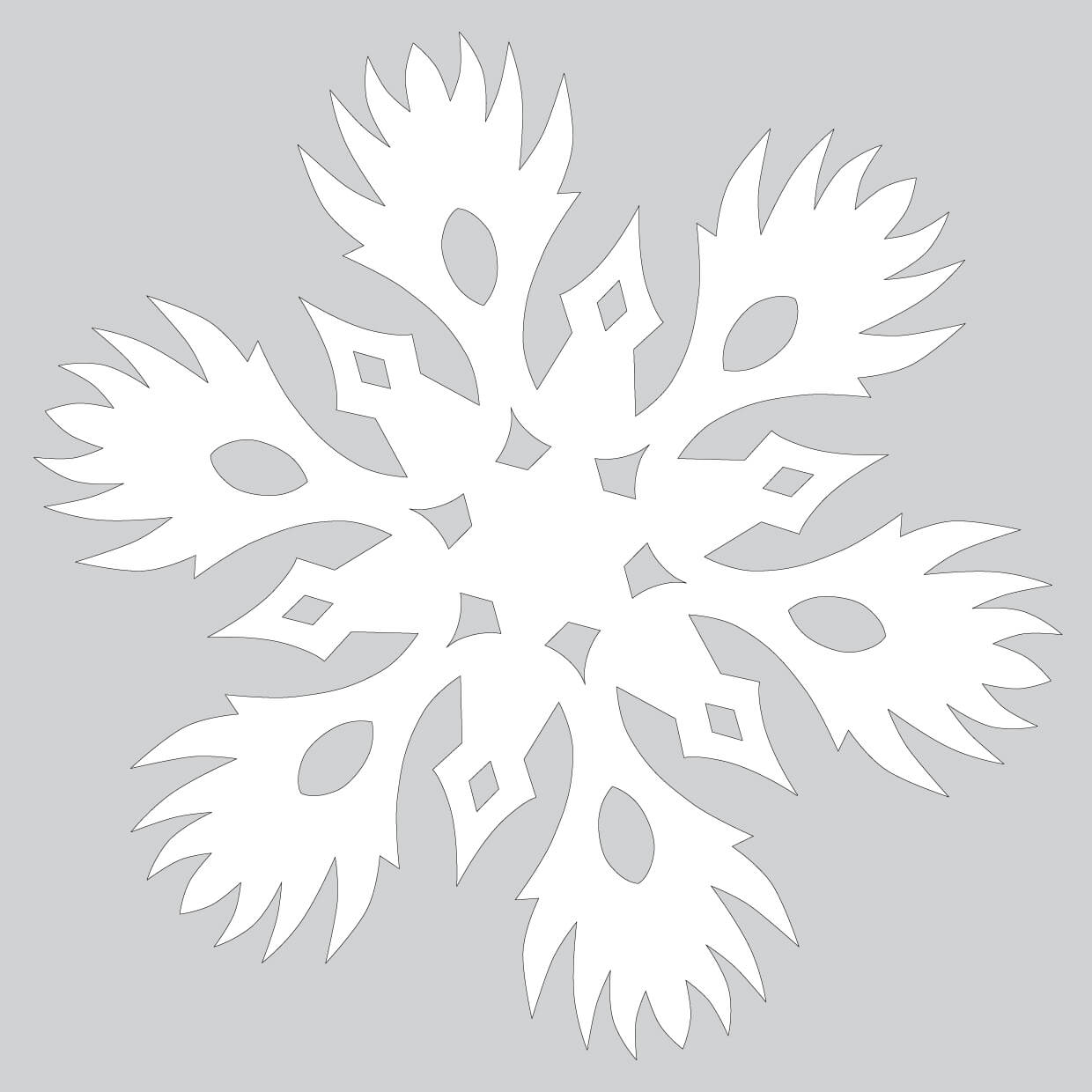 Paper Snowflake With Burning Pattern Cut Out Template