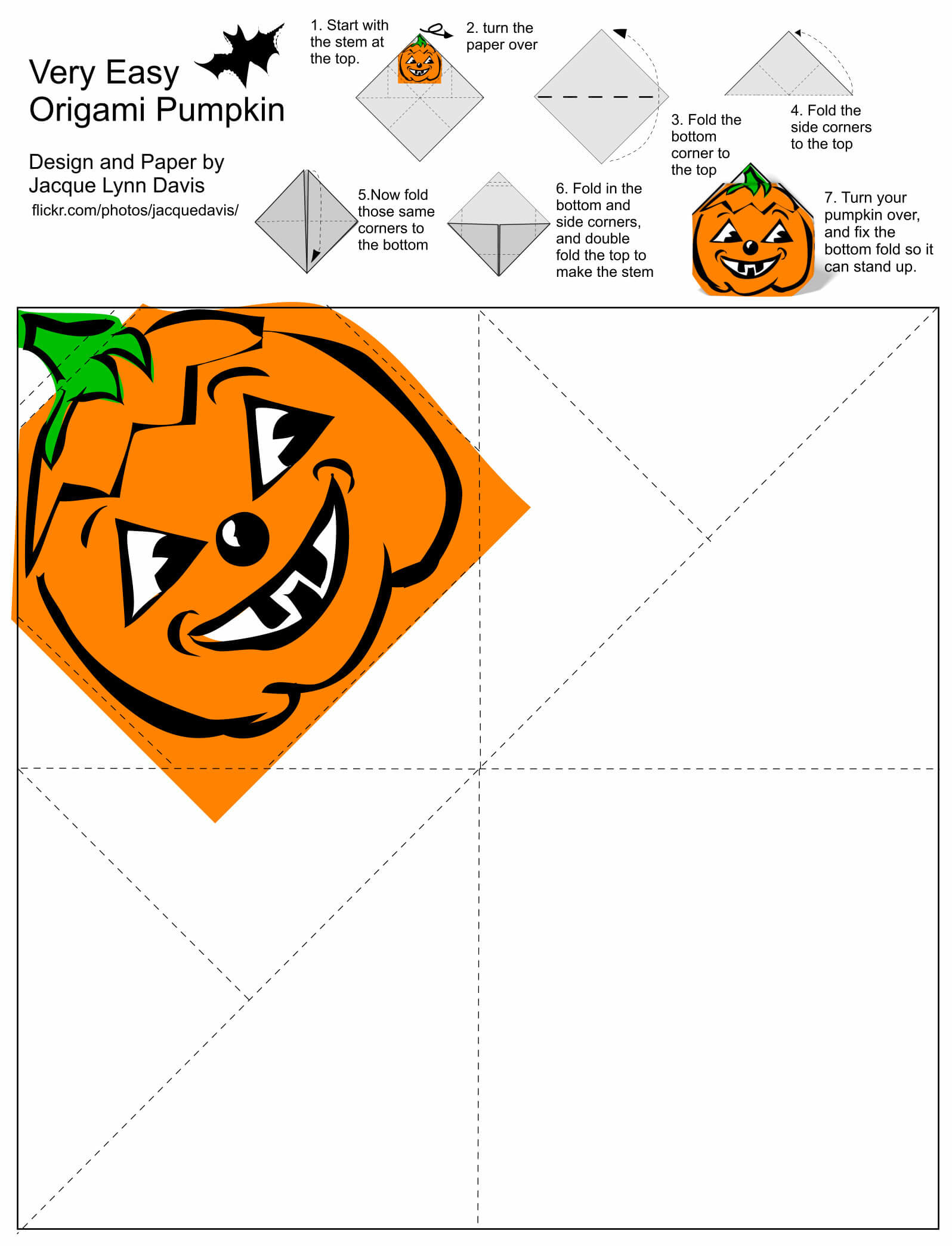 Origami Pumpkin Jack O Lantern Template With Diy Instruction