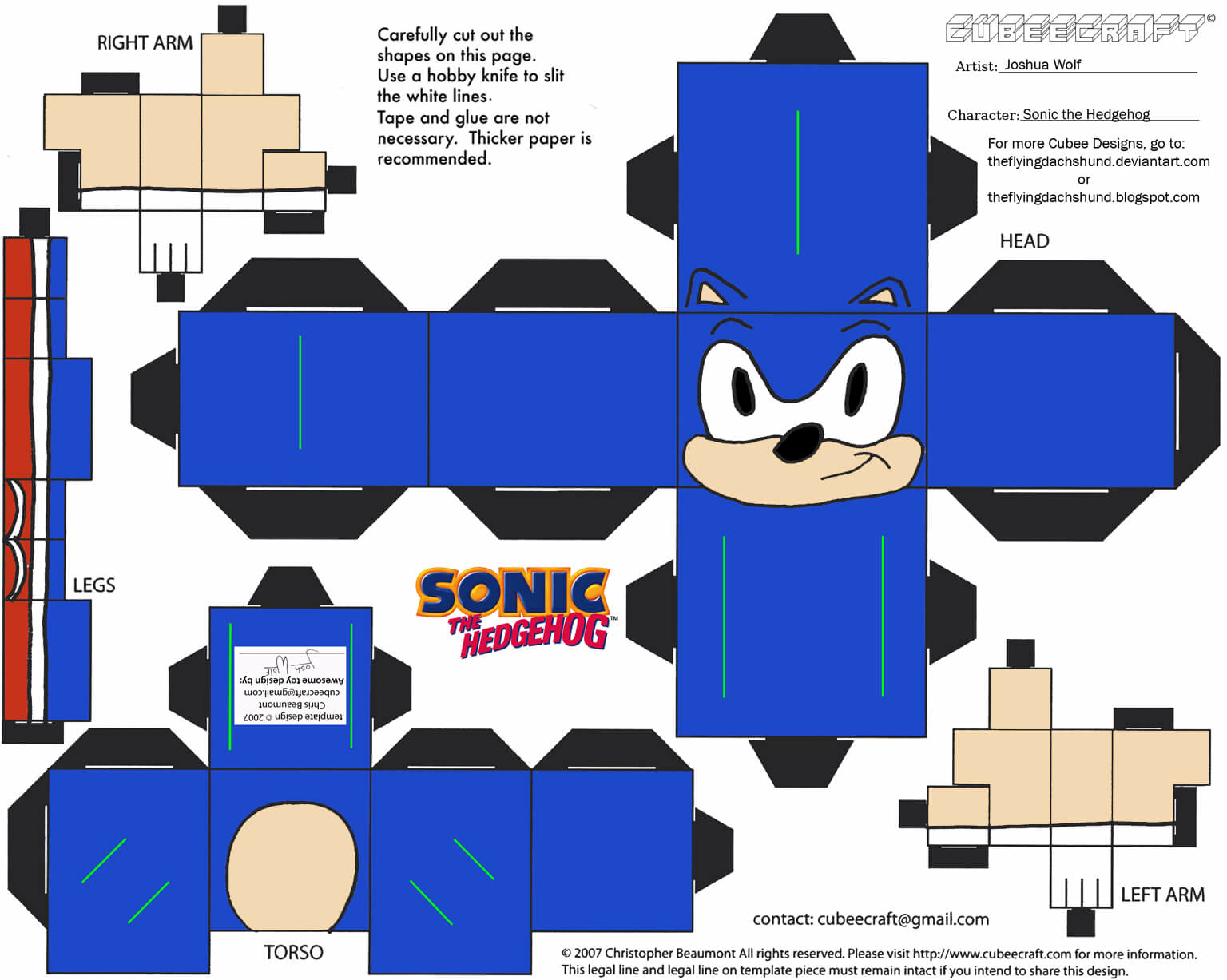 Sonic Paper Toy