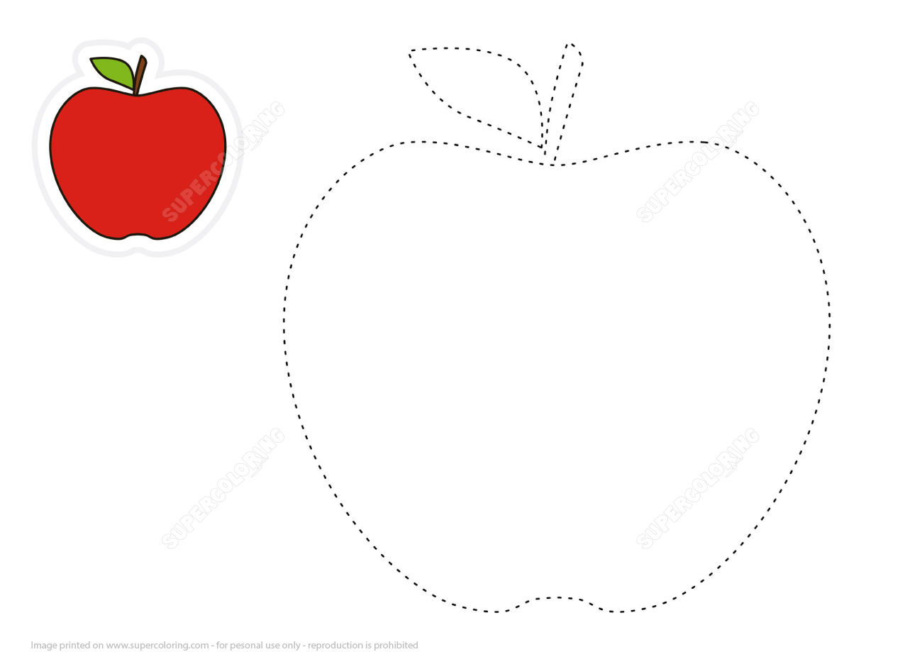 Draw Cartoon Red Apple By Tracing Lines