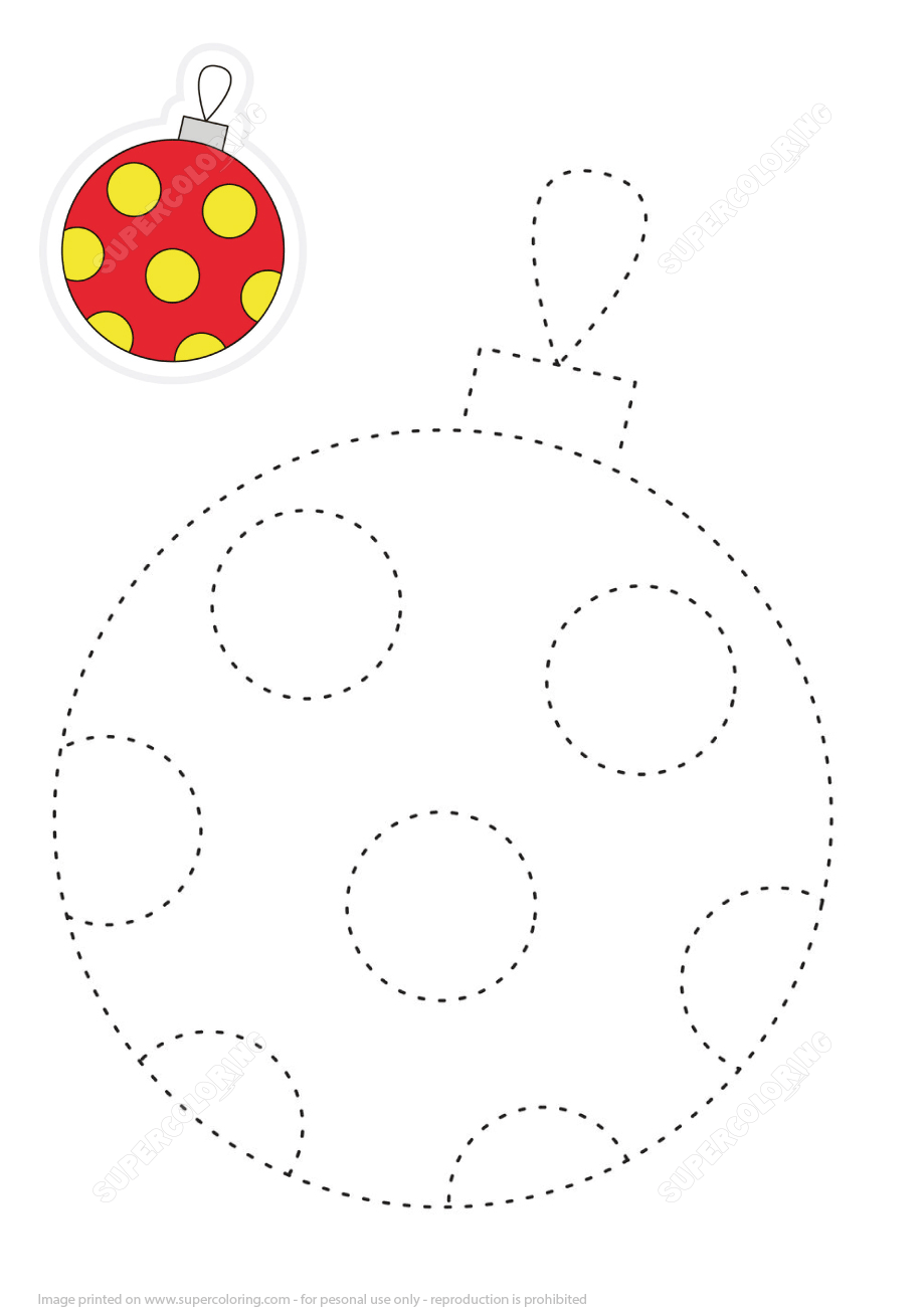 Draw Christmas Round Ball by Tracing Lines and Color It