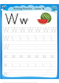 Letter W is for Watermelon Handwriting Practice Worksheet ...