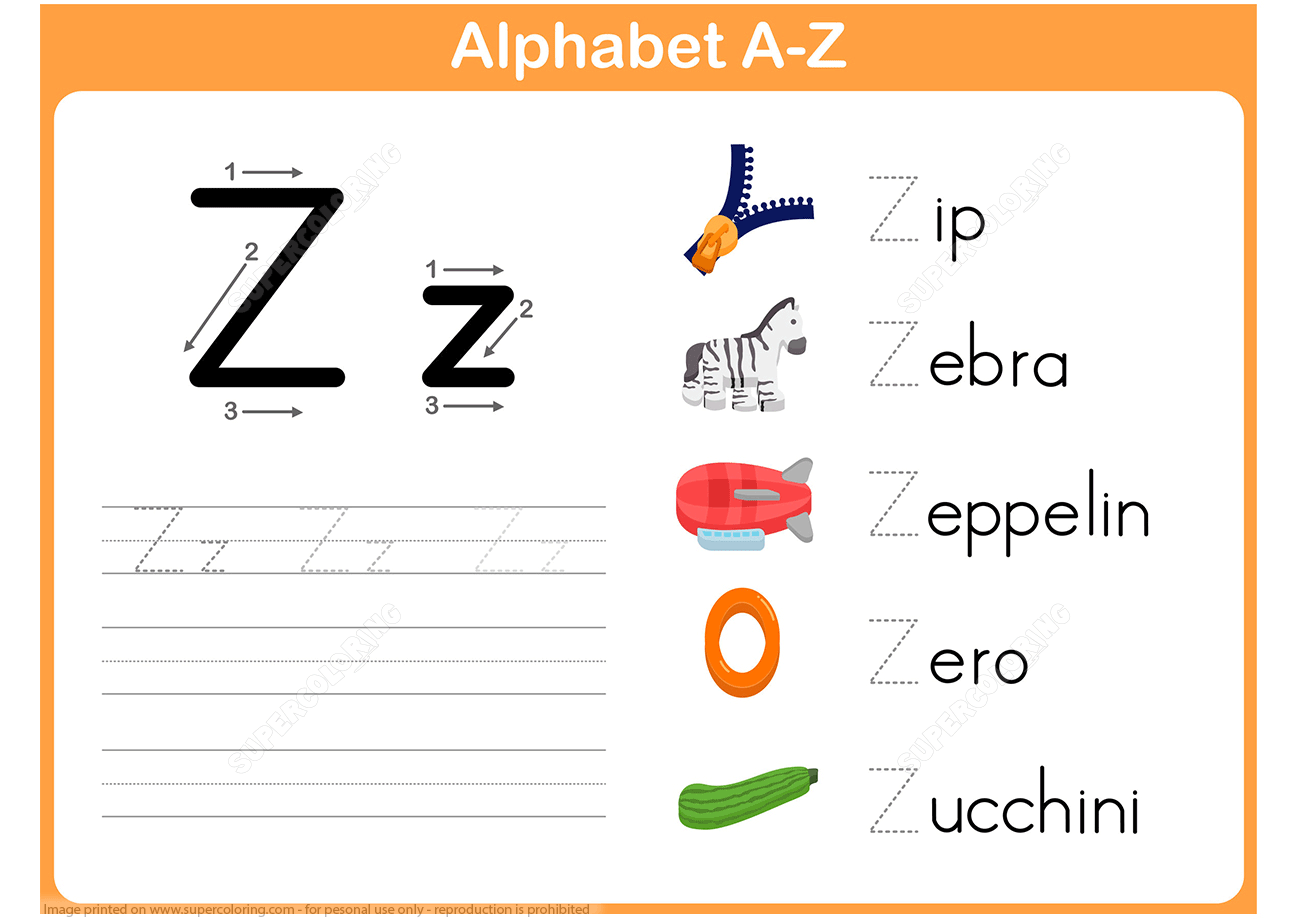 Letter Z Tracing Worksheet