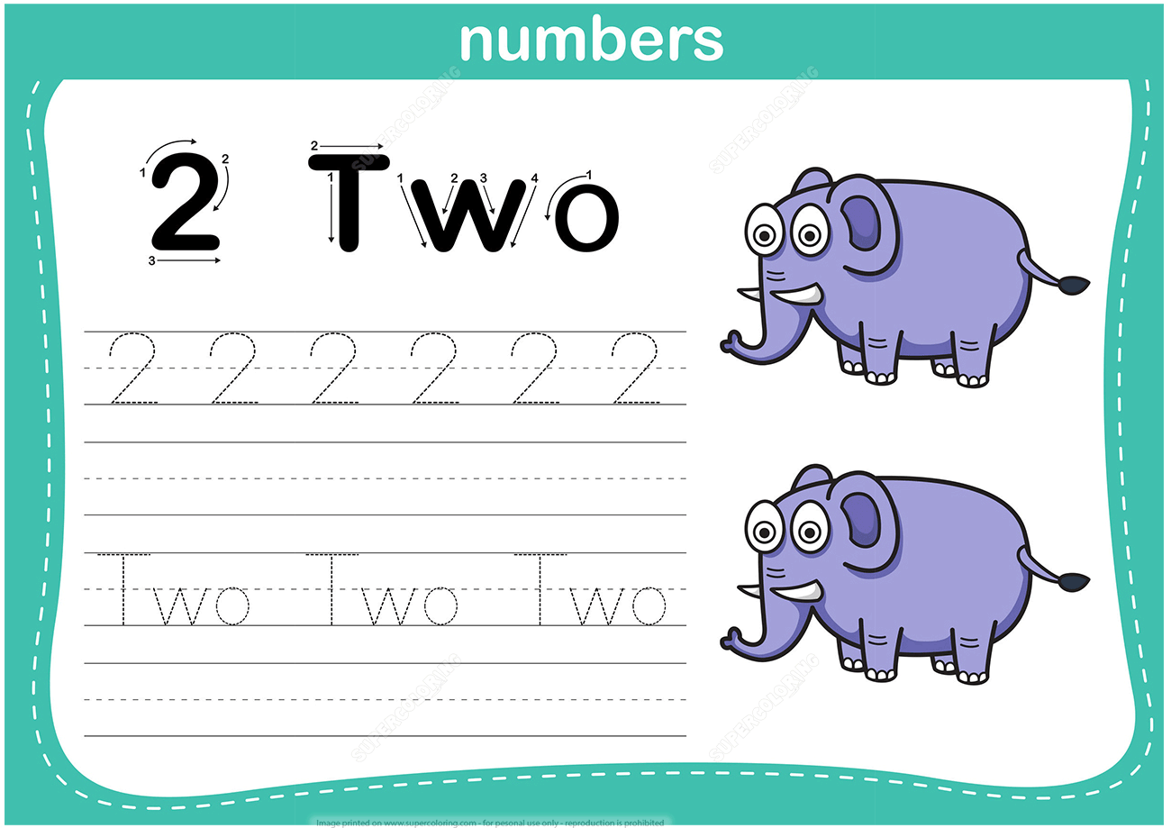 Number 2 Tracing Worksheet