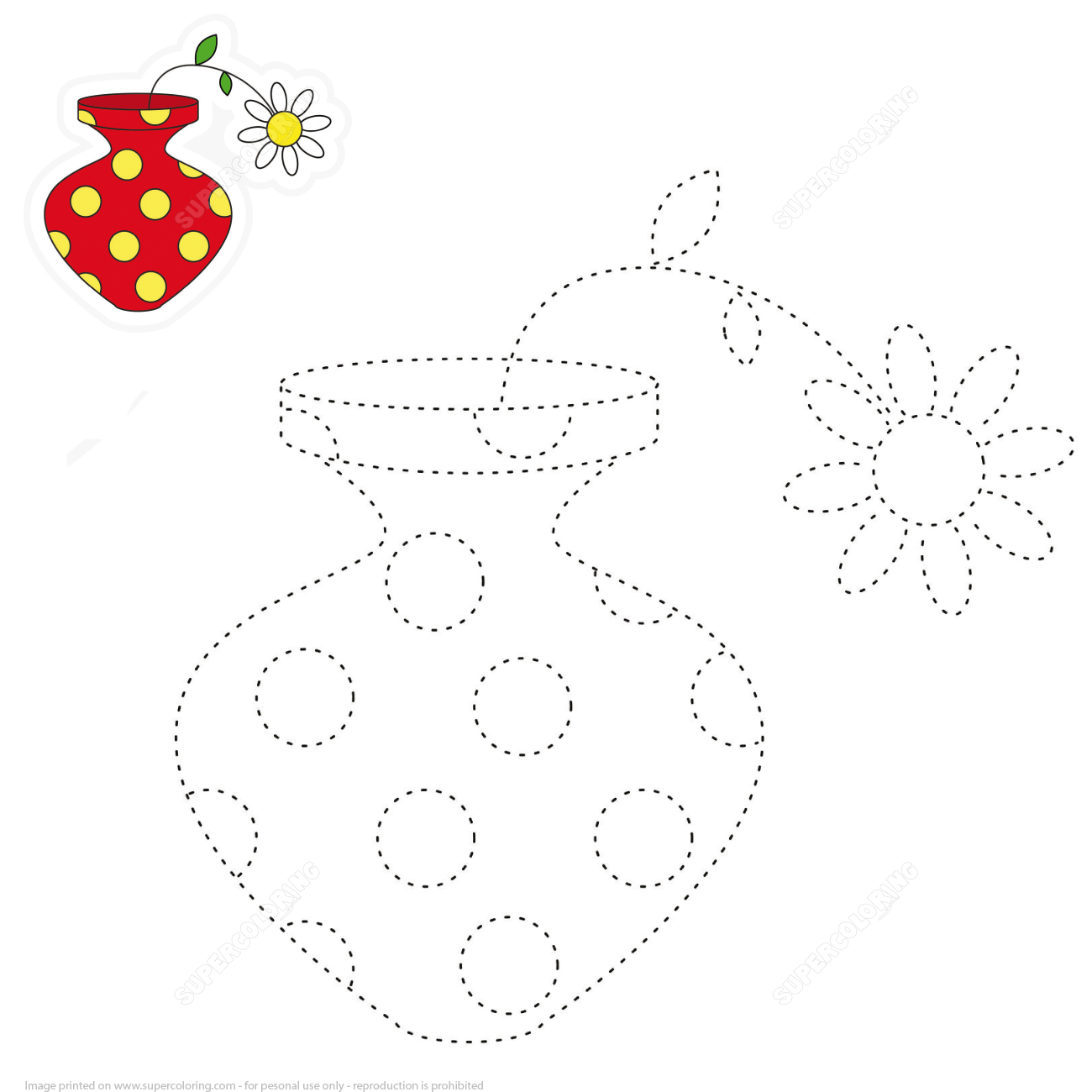 Trace And Color The Vase With Flower