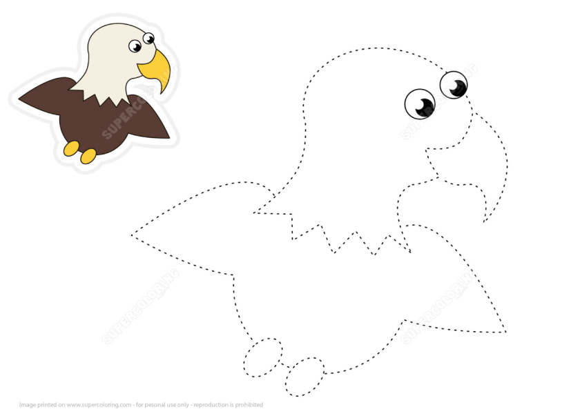 trace cartoon eagle dashed lines  free printable puzzle games