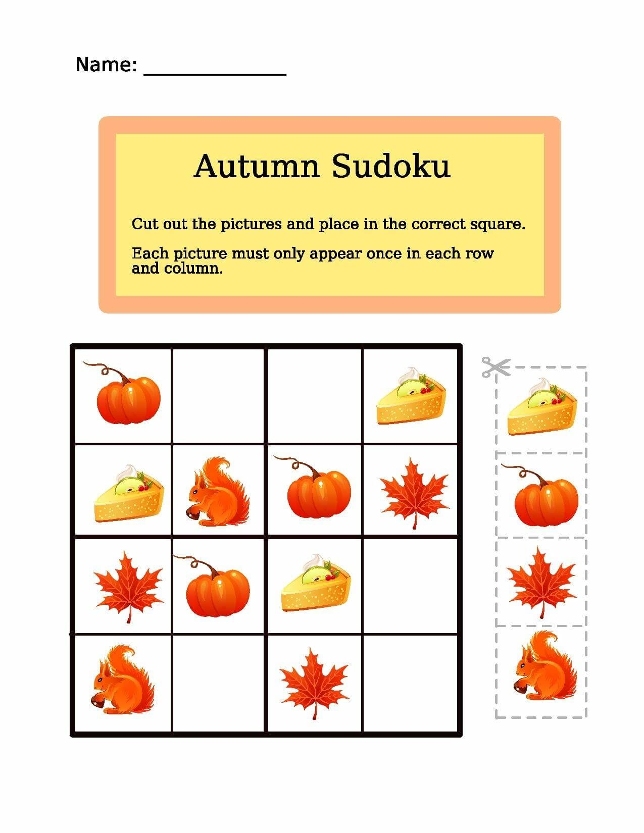 Autumn Sudoku Puzzle
