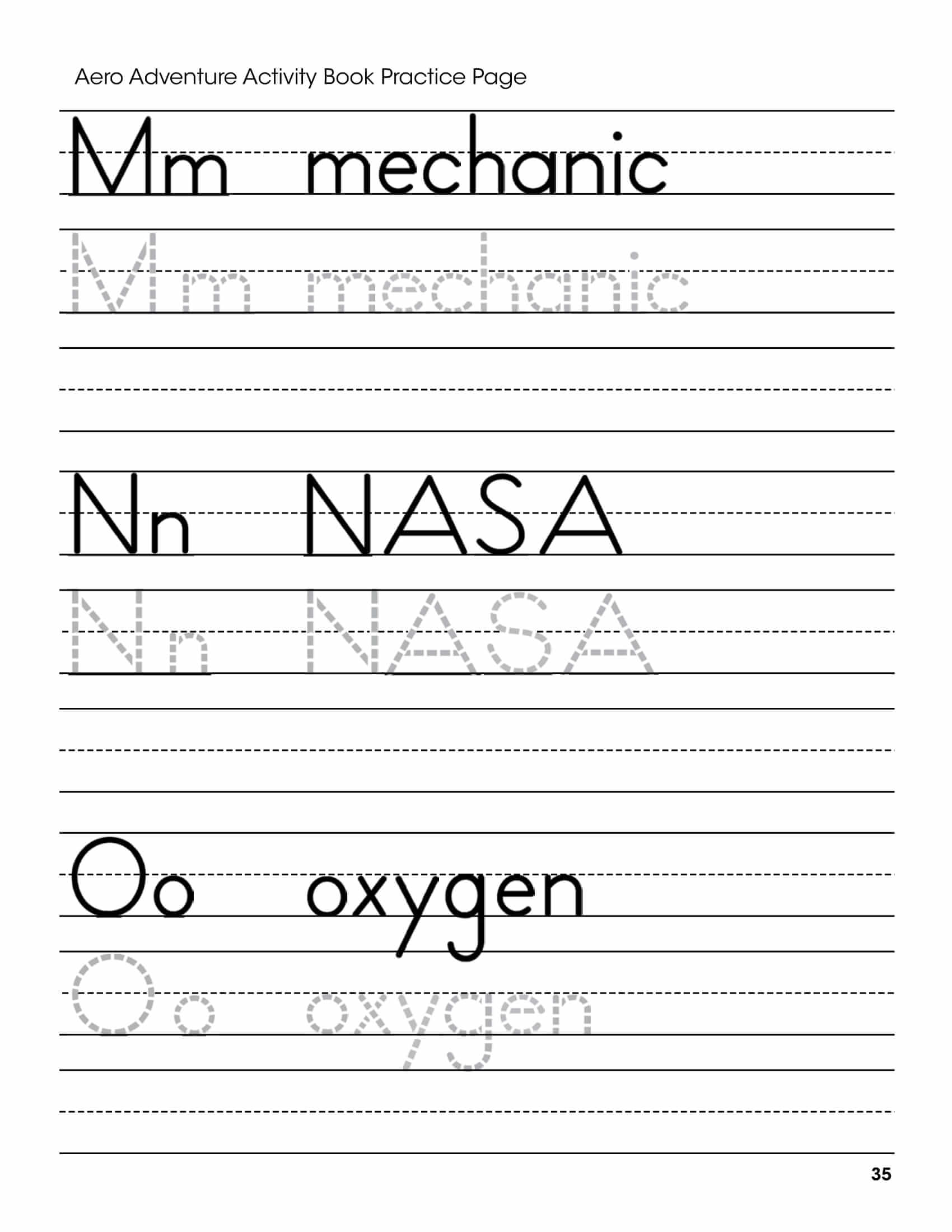 M N O Letters Handwriting Worksheet