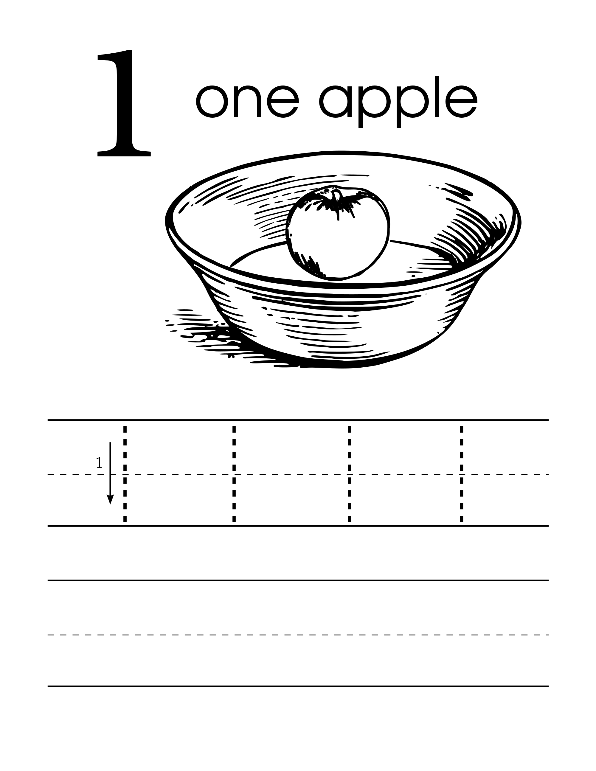 Number 1 One Handwriting Worksheet Preschool Level With An Apple In A Bowl
