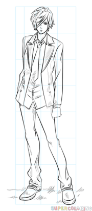 anime male body outline sketch