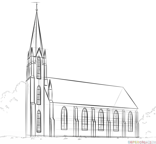 Easy Church Drawing Sketch Coloring Page