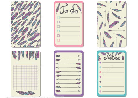 Printable Scrapbook Notes And Cards With Feathers In