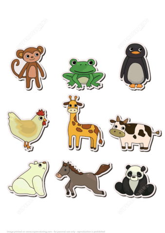 Printable Stickers With Animals Free Printable