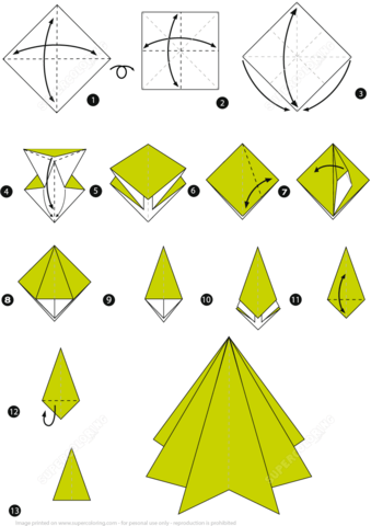 christmas origami diagram bubble template for excel step by instructions of a tree free click to see printable version paper
