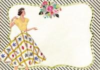 Vintage Fashionable Woman Scrapbook Paper Design