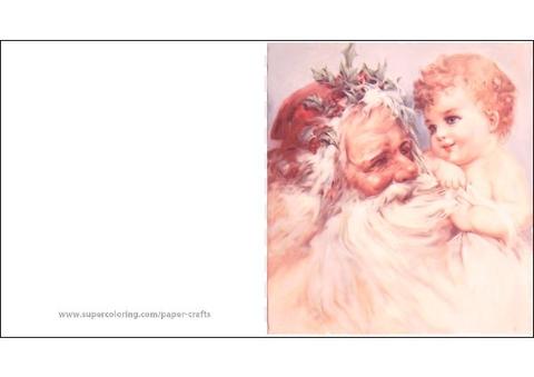 Illustrazione di natale di natività maria e giuseppe. Biglietto Vintage Con Babbo Natale E Gesu Bambino Creare Con La Carta Da Stampare