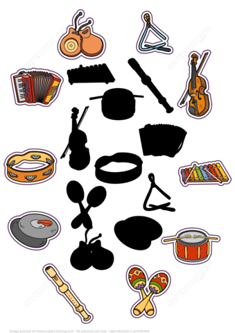 Find The Correct Shadow Of Musical Instruments Puzzle