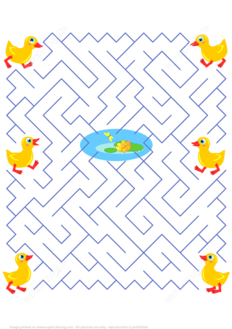 Maze Puzzle With Ducklings Free Printable Puzzle Games
