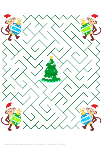 Maze Puzzle With Christmas Monkey Free Printable Puzzle Games