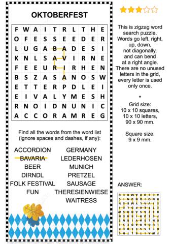 Oktoberfest Zigzag Word Search Puzzle Free Printable