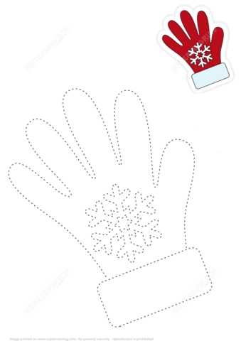 Trace Lines Of Red Gloves And Color The Picture Free