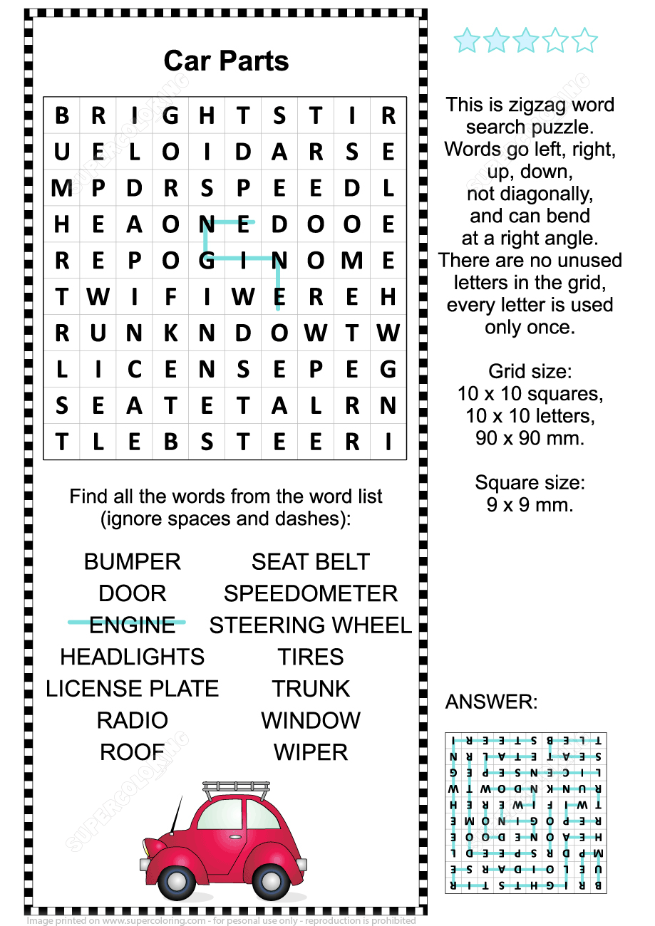 Car Parts Word Search Puzzle Free Printable Puzzle Games