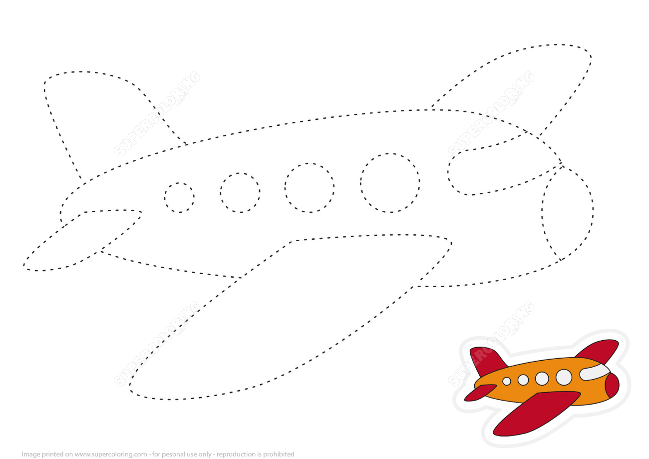Draw Airplane By Tracing Dashed Line And Color