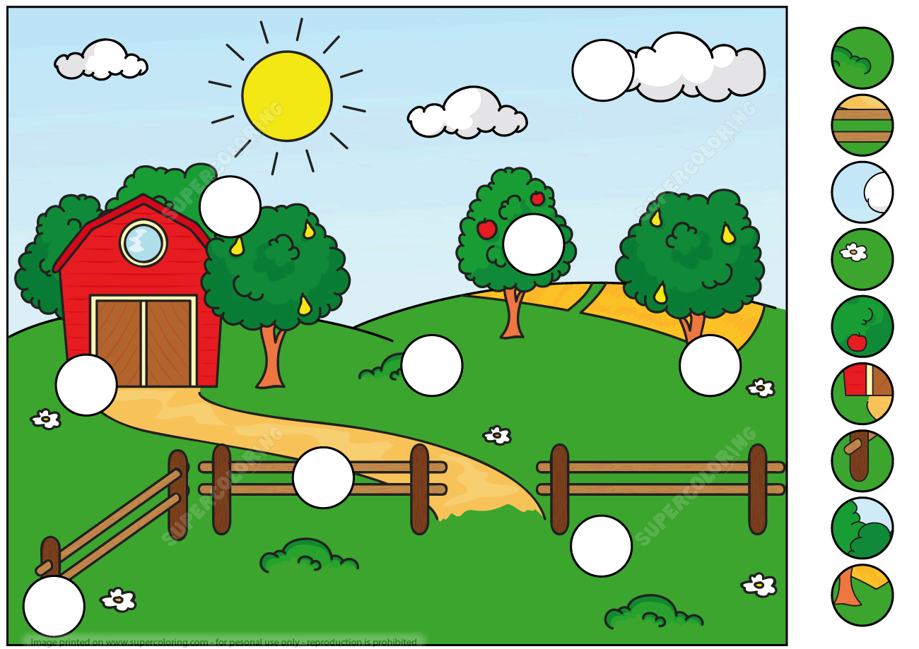 Picture With Pasture Trees And Clouds Puzzle