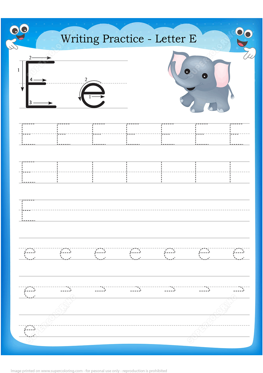 Letter E Is For Elephant Handwriting Practice Worksheet