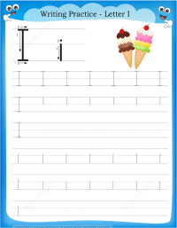 Letter I is for Ice Cream Handwriting Practice Worksheet ...