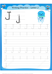 Letter J is for Jellyfish Handwriting Practice Worksheet ...