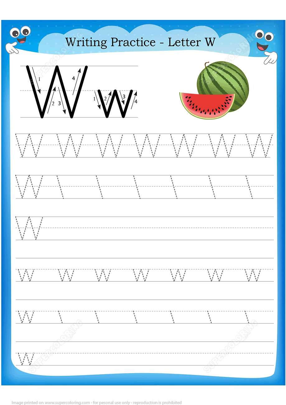 Letter W Is For Watermelon Handwriting Practice Worksheet