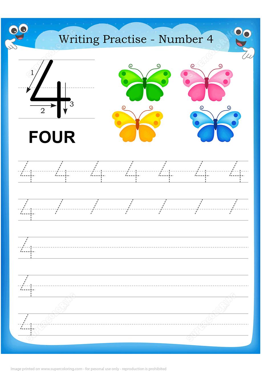 Number 4 Handwriting Practice Worksheet