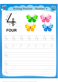 Number 4 Handwriting Practice Worksheet