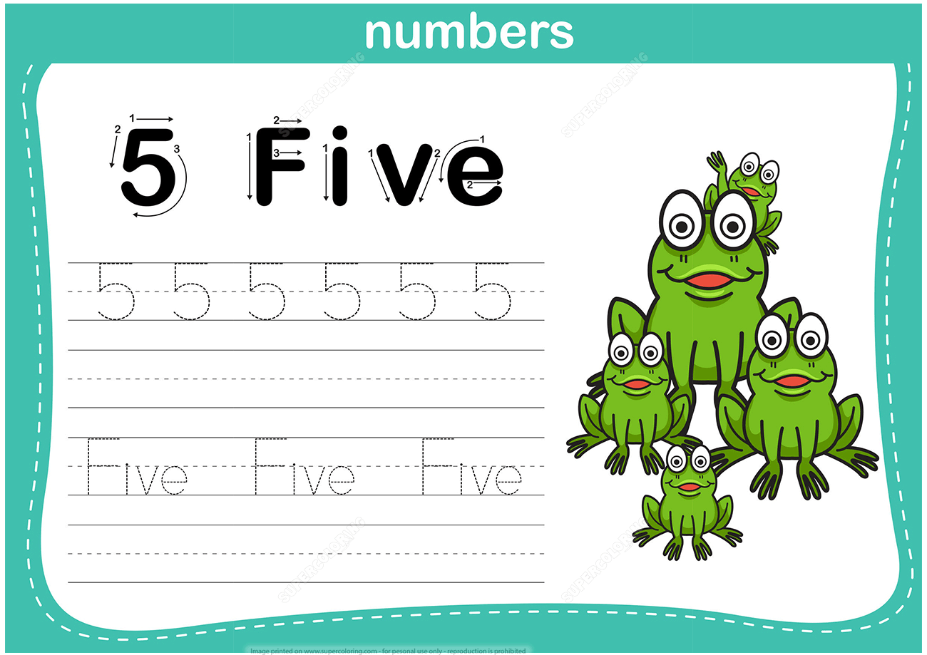 Number 5 Tracing Worksheet