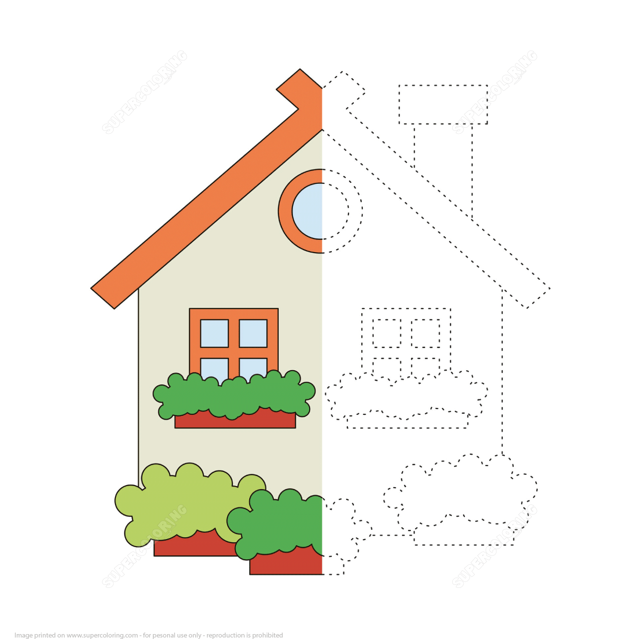 Trace And Color A House