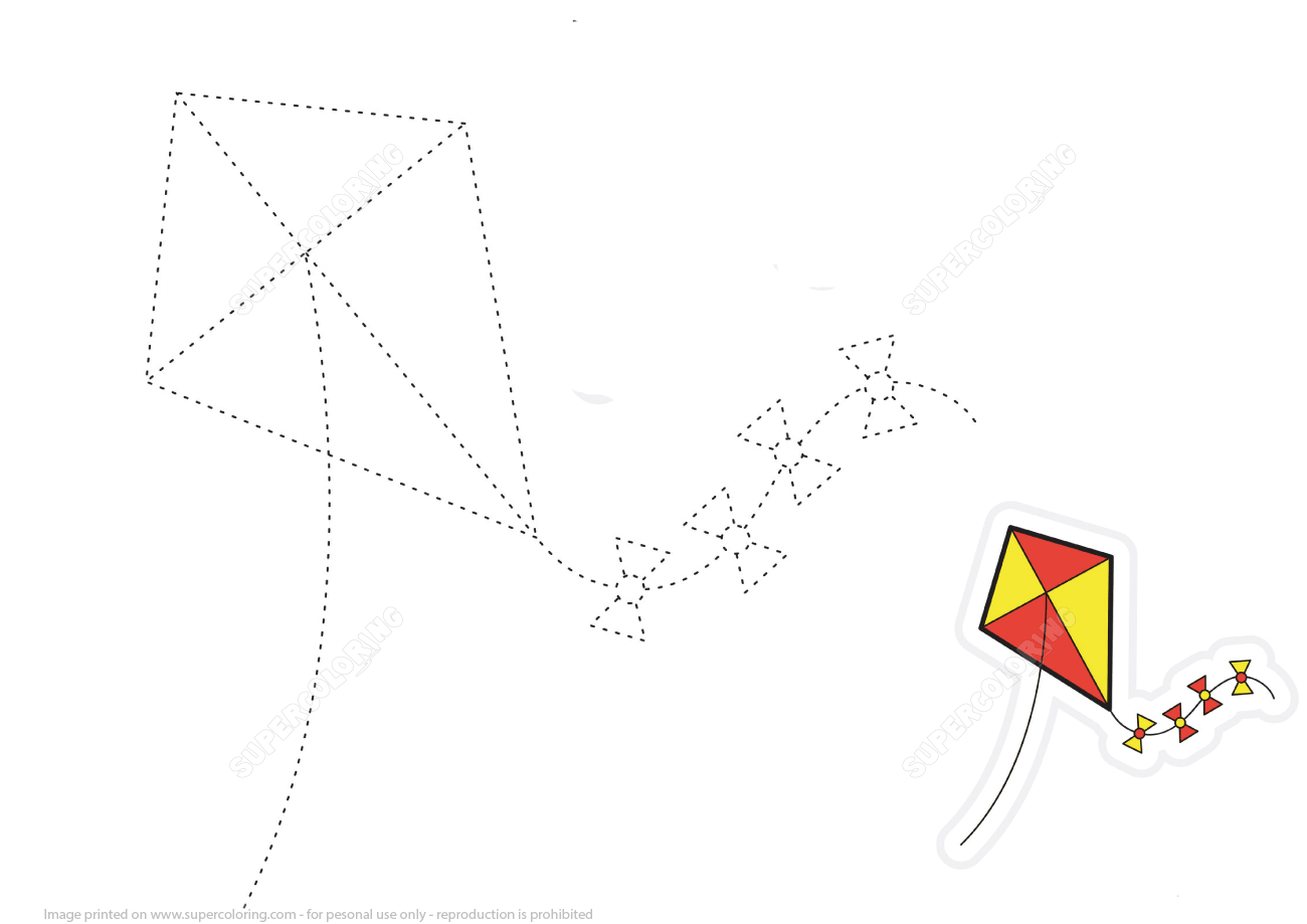 Trace Dashed Lines Of Kite And Color The Picture