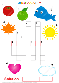 Crossword Puzzle for Children - What the Color? | Free ...