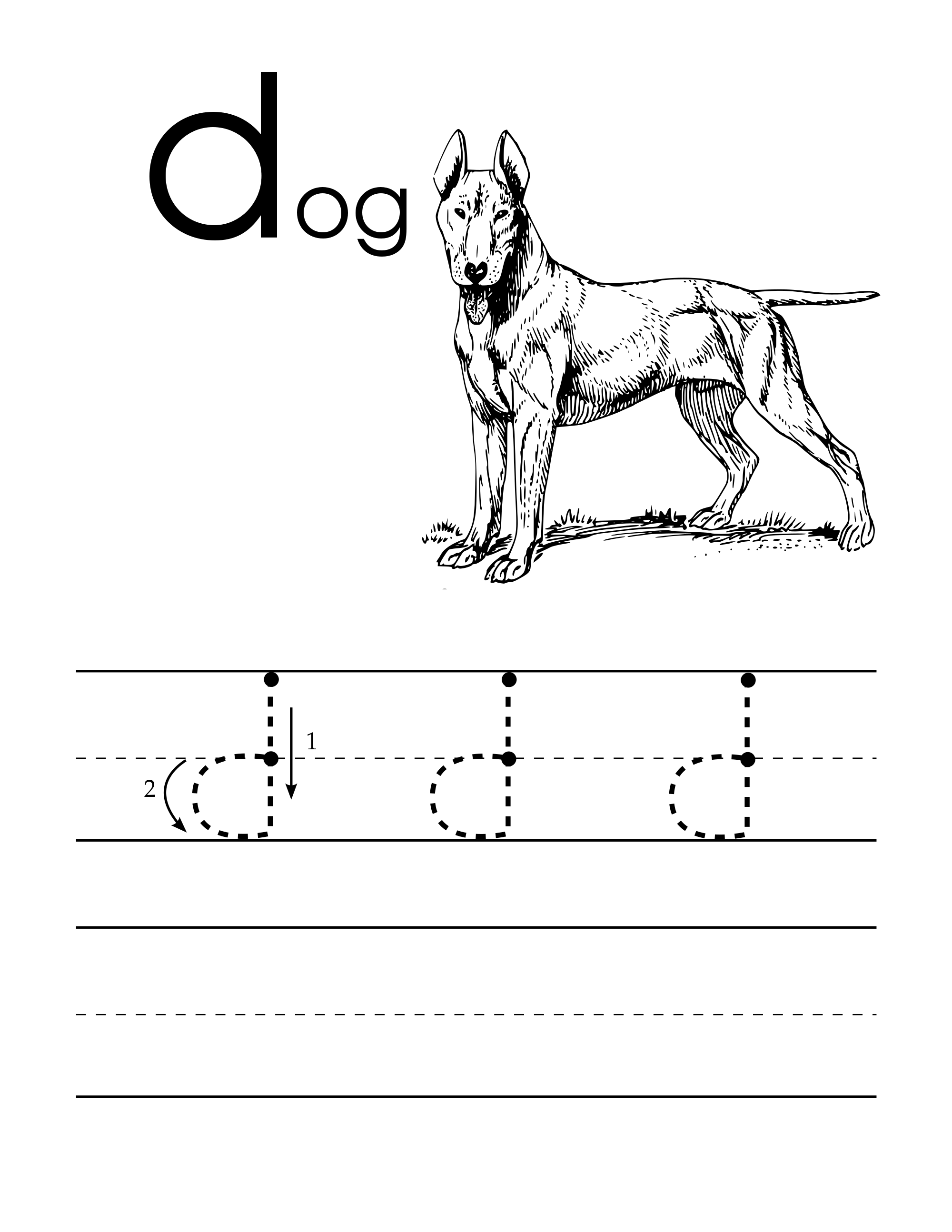 Lowercase D Handwriting Worksheet For Pre Schoolers With A
