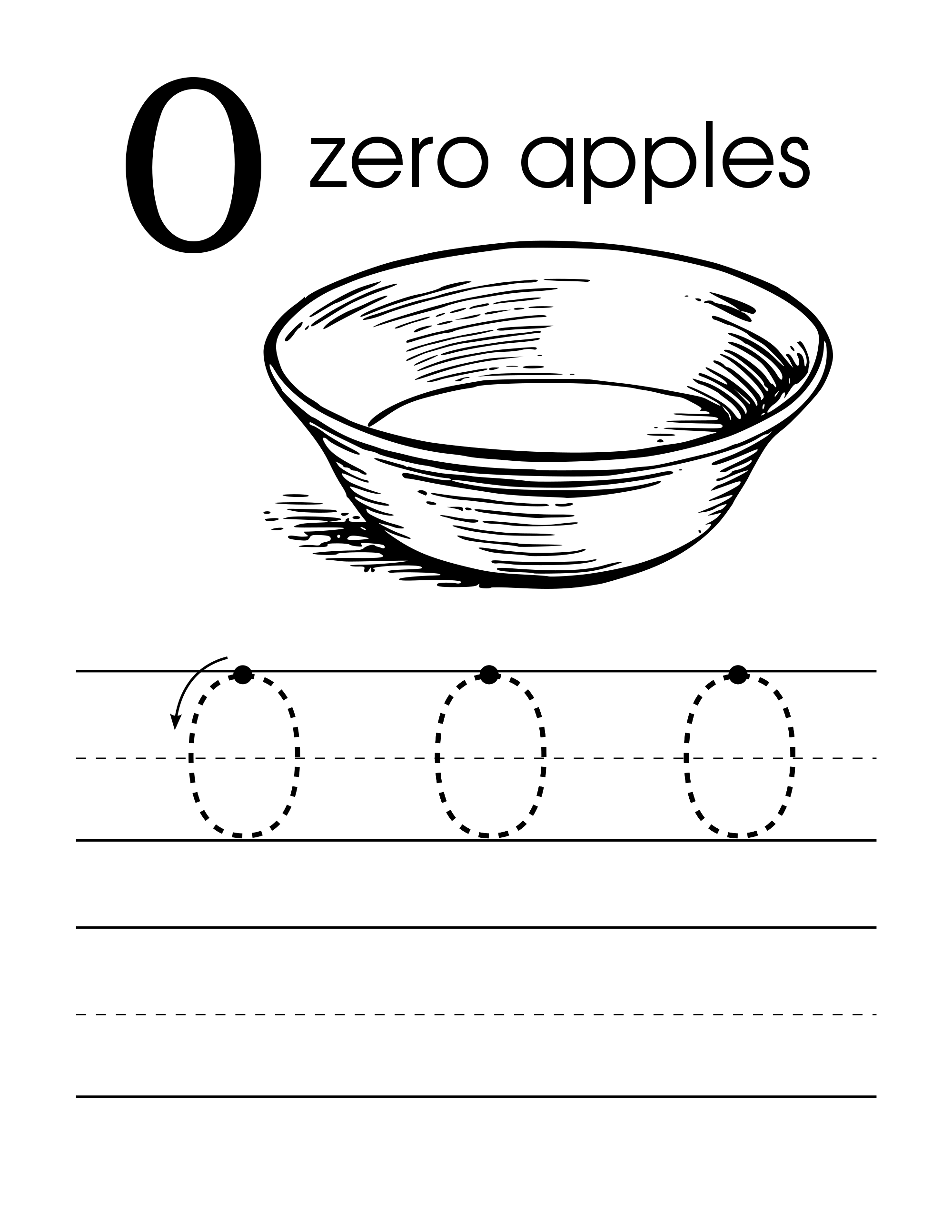 Number 0 Zero Handwriting Worksheet Preschool With Apples