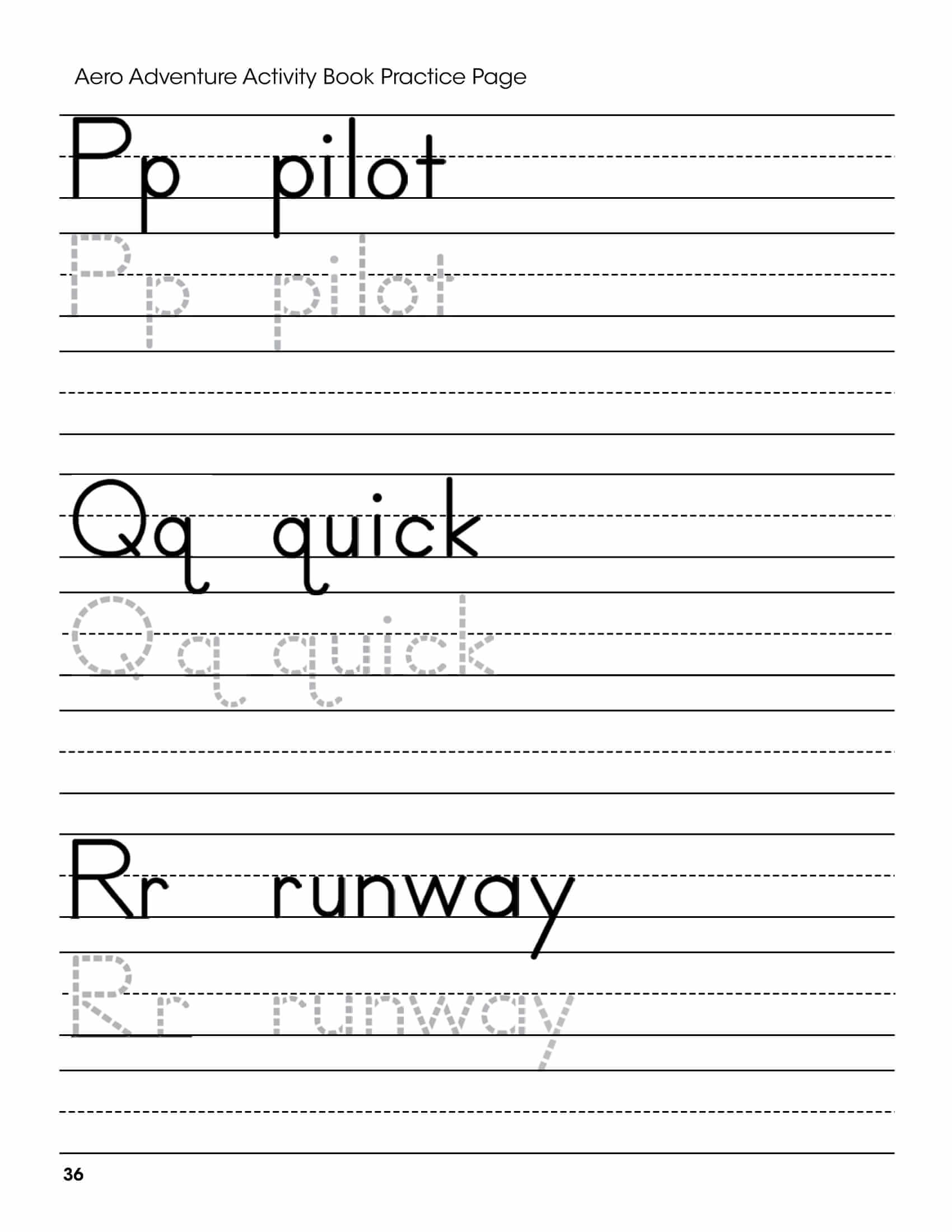 P Q R Letters Handwriting Worksheet