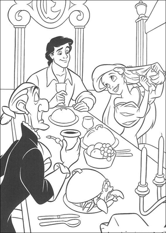 Eric And Ariel Are dining Together coloring page