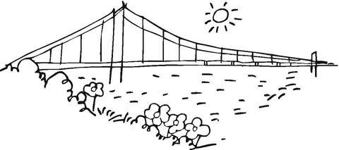 Bridge Golden Gate in San Francisco coloring page