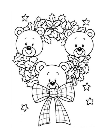 Christmas Wreath Of Teddy Bears coloring page
