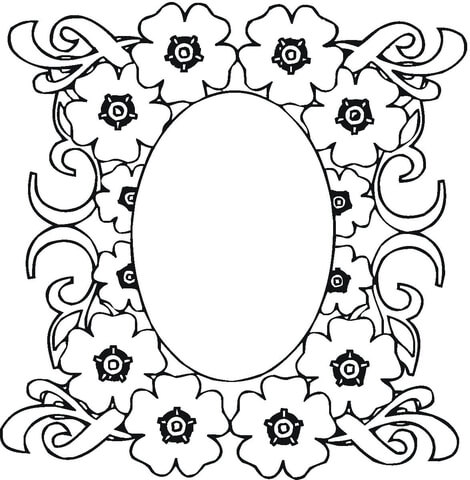 Mirror In The Flowers Ornament coloring page